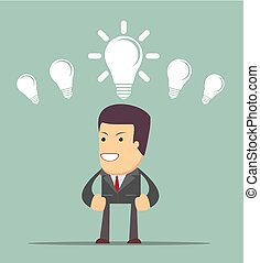 Business person having an bright idea light bulb concept