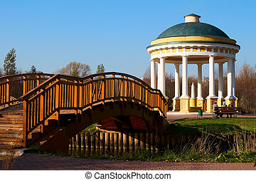 Gazebo and bridge - Gazebo and a bridge on the river Yauza...