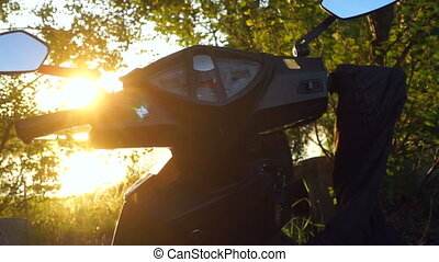 Motocycle sunrice nature - Motobike on nature place of...