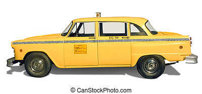 Yellow Taxi - Classic, retro yellow taxicab from New York...
