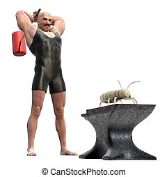 Termite Control - Muscle Man with a mallet behind his back...