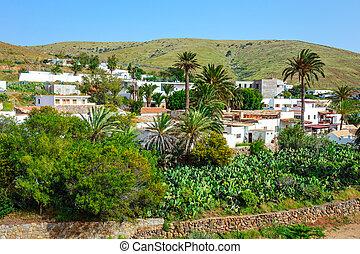 Central square in Betancuria village on Fuerteventura...