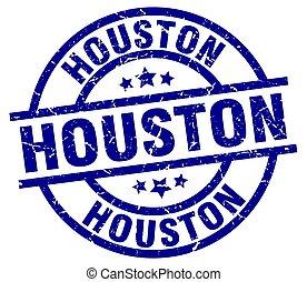 Houston blue round grunge stamp