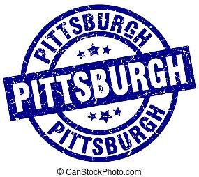 Pittsburgh blue round grunge stamp