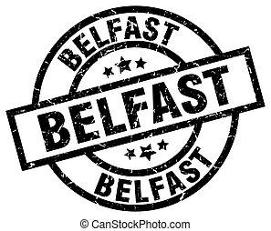 Belfast black round grunge stamp