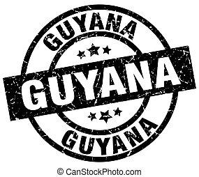 Guyana black round grunge stamp