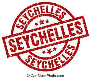 Seychelles red round grunge stamp