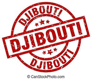 Djibouti red round grunge stamp