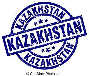 Kazakhstan blue round grunge stamp