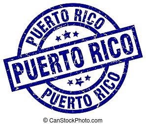Puerto Rico blue round grunge stamp
