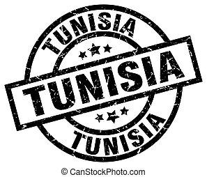 Tunisia black round grunge stamp