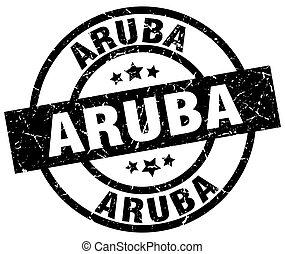 Aruba black round grunge stamp