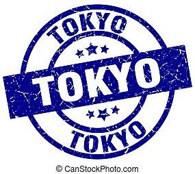 Tokyo blue round grunge stamp