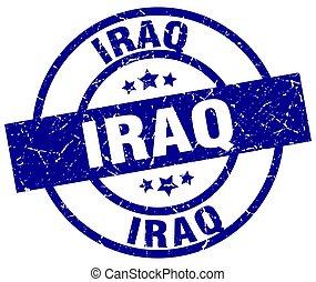Iraq blue round grunge stamp