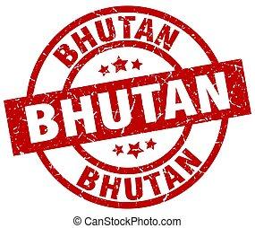 Bhutan red round grunge stamp