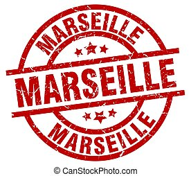 Marseille red round grunge stamp