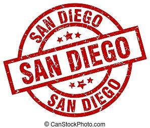 San Diego red round grunge stamp