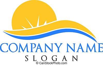 Sun and waves travel and tourism logo design.