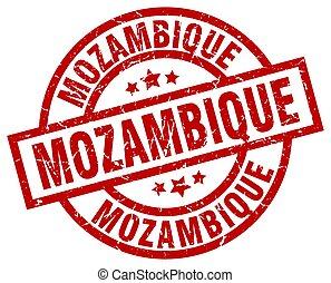 Mozambique red round grunge stamp