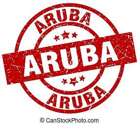 Aruba red round grunge stamp