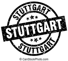 Stuttgart black round grunge stamp