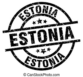 Estonia black round grunge stamp