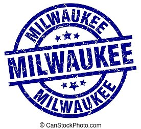 Milwaukee blue round grunge stamp