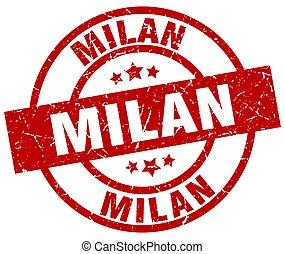 Milan red round grunge stamp