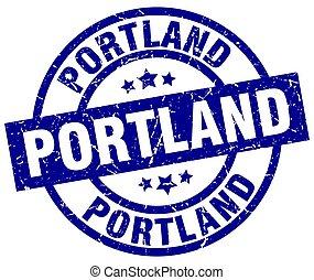 Portland blue round grunge stamp