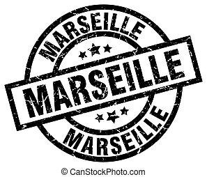 Marseille black round grunge stamp