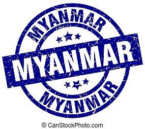 Myanmar blue round grunge stamp