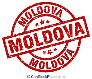 Moldova red round grunge stamp
