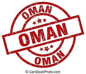 Oman red round grunge stamp