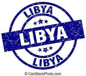 Libya blue round grunge stamp