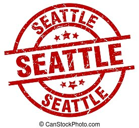 Seattle red round grunge stamp