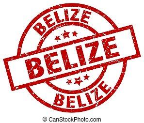 Belize red round grunge stamp