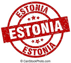 Estonia red round grunge stamp