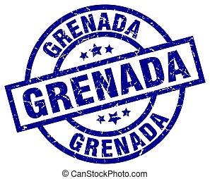 Grenada blue round grunge stamp
