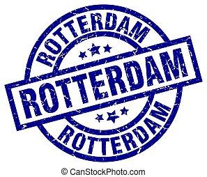Rotterdam blue round grunge stamp