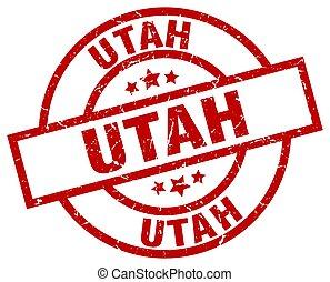 Utah red round grunge stamp