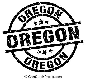 Oregon black round grunge stamp