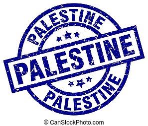 Palestine blue round grunge stamp
