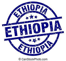 Ethiopia blue round grunge stamp