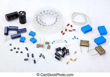 Electronic Components on a white background