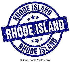 Rhode Island blue round grunge stamp