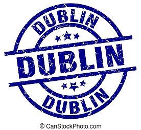Dublin blue round grunge stamp