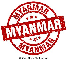 Myanmar red round grunge stamp