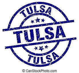 Tulsa blue round grunge stamp
