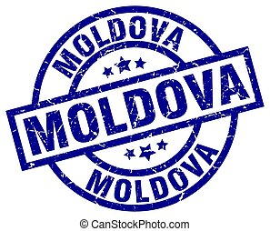 Moldova blue round grunge stamp
