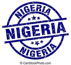 Nigeria blue round grunge stamp